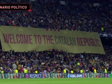 El Camp Nou, escenario político en el Barça-Juve: pancartas, gritos de Independencia, pitos al himno...