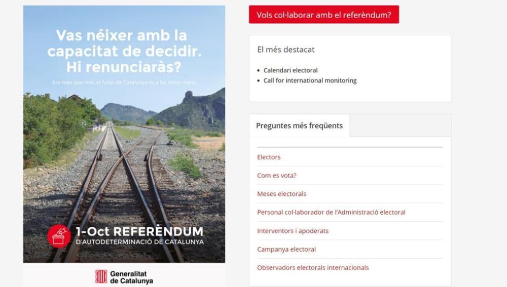 Imagen de la web del referéndum del 1-O