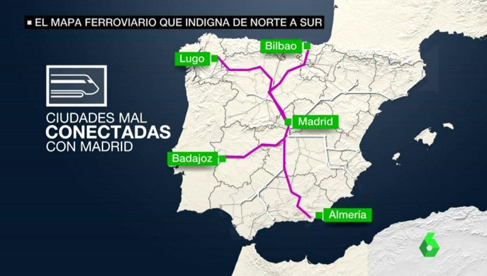 El mapa ferroviario de España indigna a viajeros de toda la Península