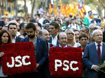 Alcaldes del PSC, durante el día de la Diada