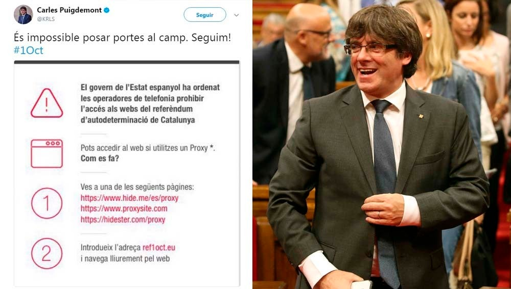 Tuit del President de la Generalitat el que explica cómo burlar el bloqueo a las web del referéndum