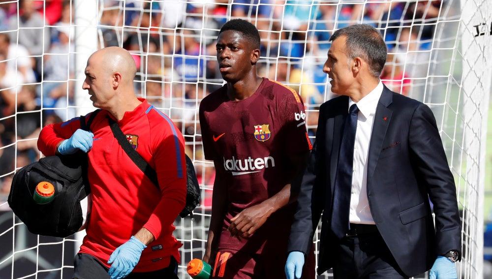 Dembélé se retira lesionado en Getafe