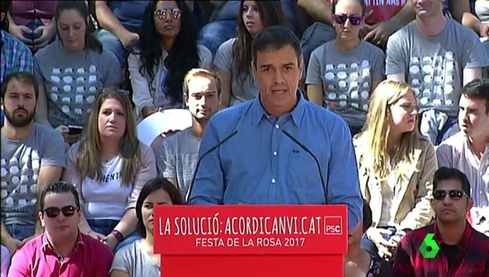 Pedro Sánchez, en un acto en Cataluña