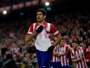 Diego Costa celebra un gol con el Atlético de Madrid