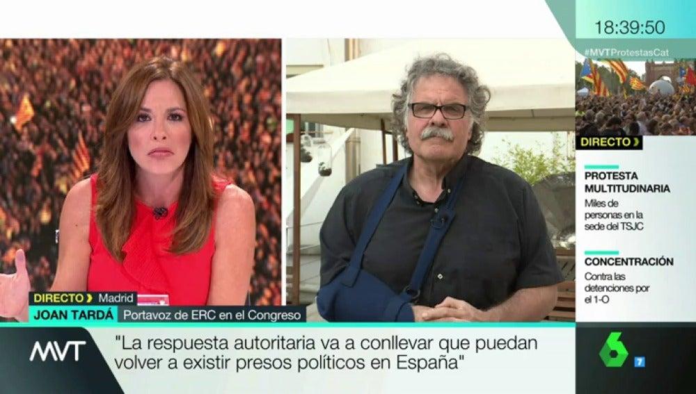 """Joan Tardà: """"Somos capaces de hacer grandes manifestaciones nunca vistas en Europa"""""""
