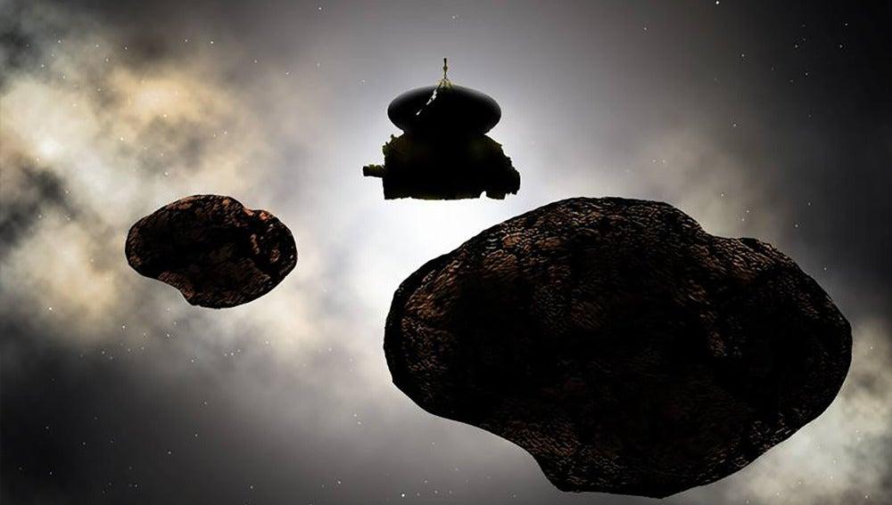 Representación artística de la sonda New Horizons sobrevolando el objeto MU69 2014 el próximo 1 de enero de 2019