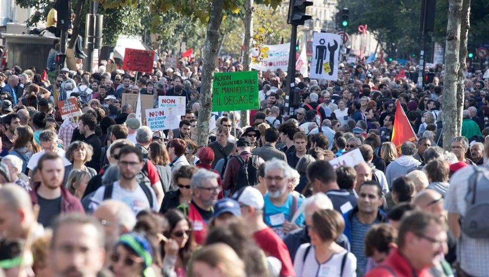 Manifestación contra la reforma laboral francesa en París