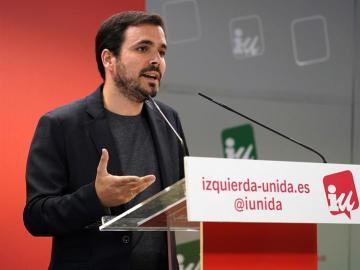 El coordinador federal de IU, Alberto Garzón, durante su intervención en la reunión de la coordinadora federal de IU