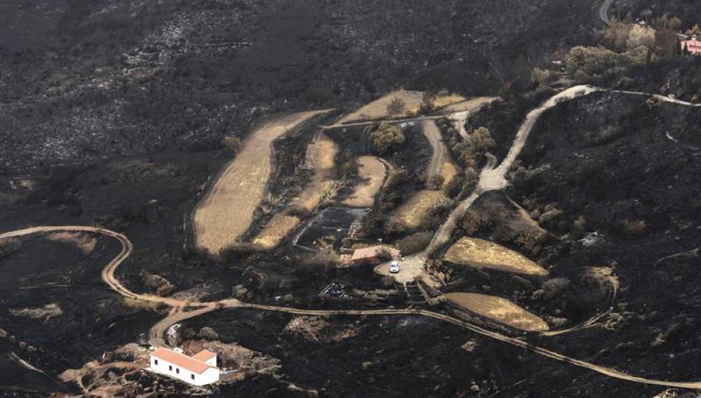 Una de las zonas afectadas por el fuego