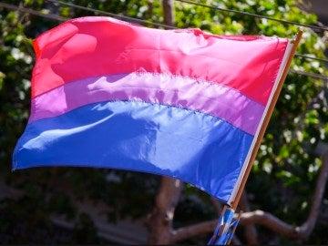 Imagen de archivo de una bandera bisexual