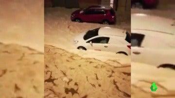 Las calles de Teruel, colapsadas por la lluvia