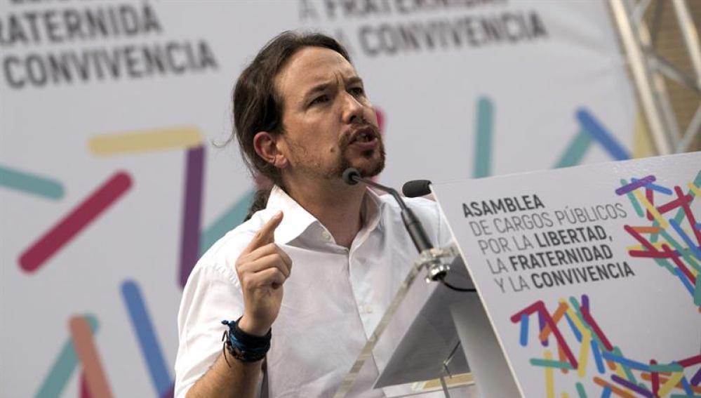 Pablo Iglesias, durante el acto celebrado en Zaragoza