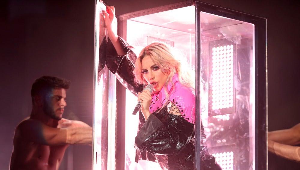Lady Gaga durante su actuación en Coachella 2017