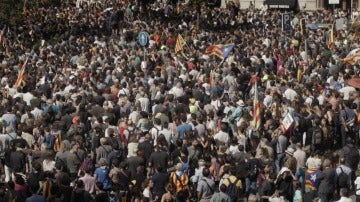 Manifestación en Cataluña por la celebración del referéndum el 1-O