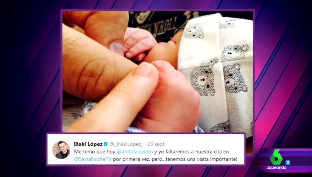 Iñaki López y Andrea Ropero se convierten en padres