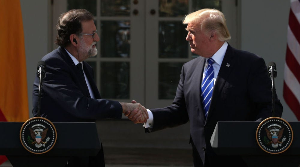Mariano Rajoy y Donald Trump en rueda de prensa en Washington