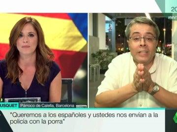 """El párroco de Calella: """"¡Paz y amor! ¡Que el Gobierno español no nos envíe a los policías!"""""""