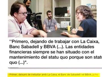 La CUP pide boicotear a la Caixa, Sabadell y BBVA