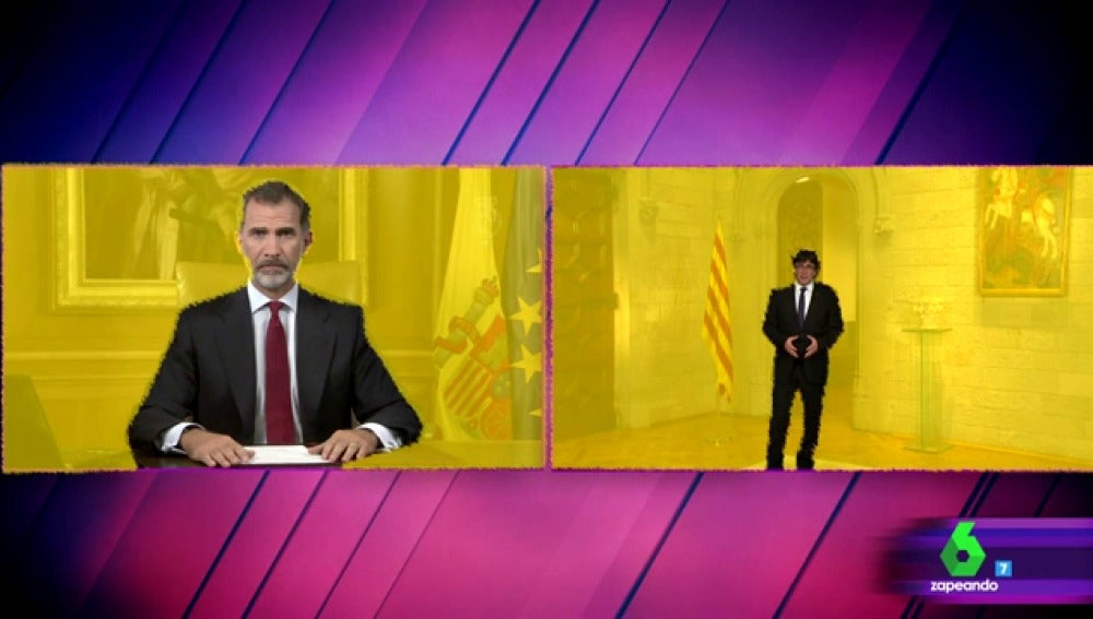 7 diferencias discurso del rey y Puigdemont