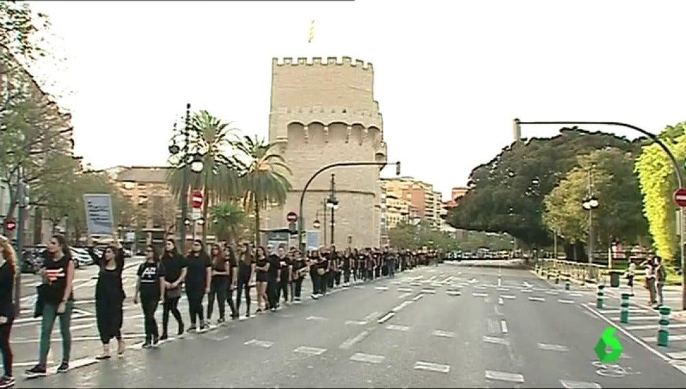 Marcha silenciosa en Valencia para denunciar la trata de personas el 14 de octubre de 2017