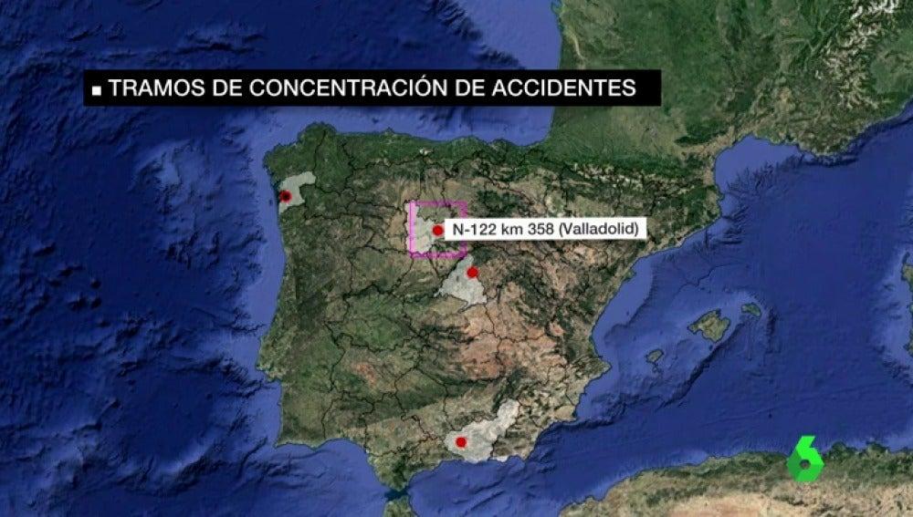 Un informe identifica los 190 tramos de carretera más peligrosos de España
