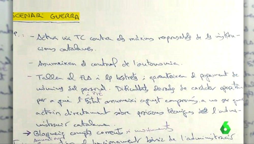 El manuscrito encontrado en el despacho de Lluís Salvadó