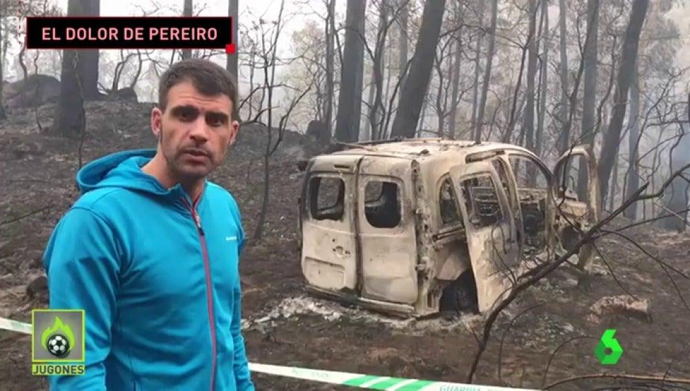 Óscar Pereiro muestra cómo han quedado algunas zonas afectadas por los incendios en Galicia