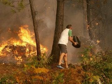 Una persona arroja agua en el incendio en la zona de Zamanes, Vigo