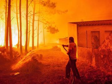 Un hombre lucha contra las llamas en un incendio forestal declarado en Adica, Tondela (Portugal)
