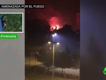 Imagen del avance de las llamas en Vigo