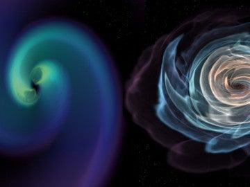 Esta imagen de una visualización animada muestra la fusión de dos estrellas de neutrones en órbita. A la derecha, una visualización de la materia de las estrellas de neutrones. A la izquierda se muestra cómo se distorsiona el espacio-tiempo cerca de las colisiones