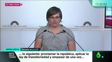 Mireia Boya, diputada de la CUP en rueda de prensa