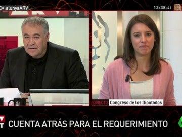 """Irene Montero: """"Es evidente que no hay legitimidad democrática para declarar la independencia"""" en Cataluña"""