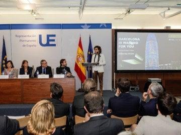 Dolors Montserrat en la presentación de la candidatura de Barcelona para albergar la Agencia Europea del Medicamento