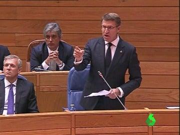 El presidente de la Xunta, Alberto Núñez Feijóo, en el parlamento gallego