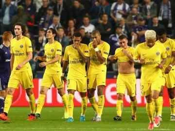 Los jugadores del PSG celebran un gol ante el Anderlecht