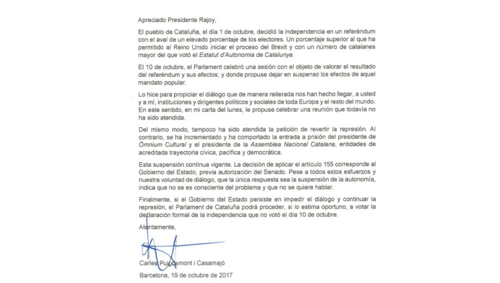 Carta enviada por Rajoy a Puigdemont