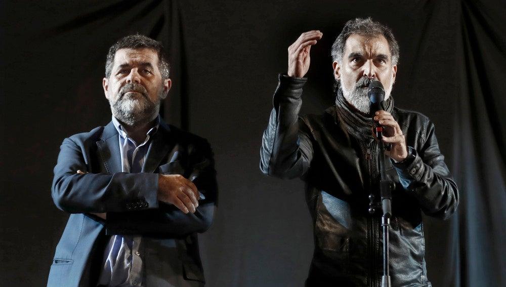 El expresidente de la Asamblea Nacional Catalana, Jordi Sánchez  y el presidente de Omnium Cultural, Jordi Cuixart