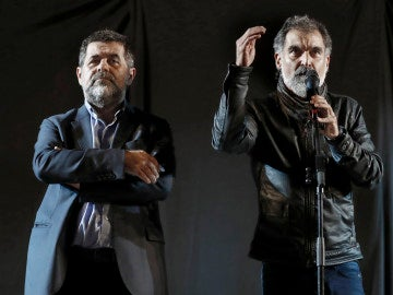 El presidente de la Asamblea Nacional Catalana, Jordi Sánchez  y el presidente de Omnium Cultural, Jordi Cuixart