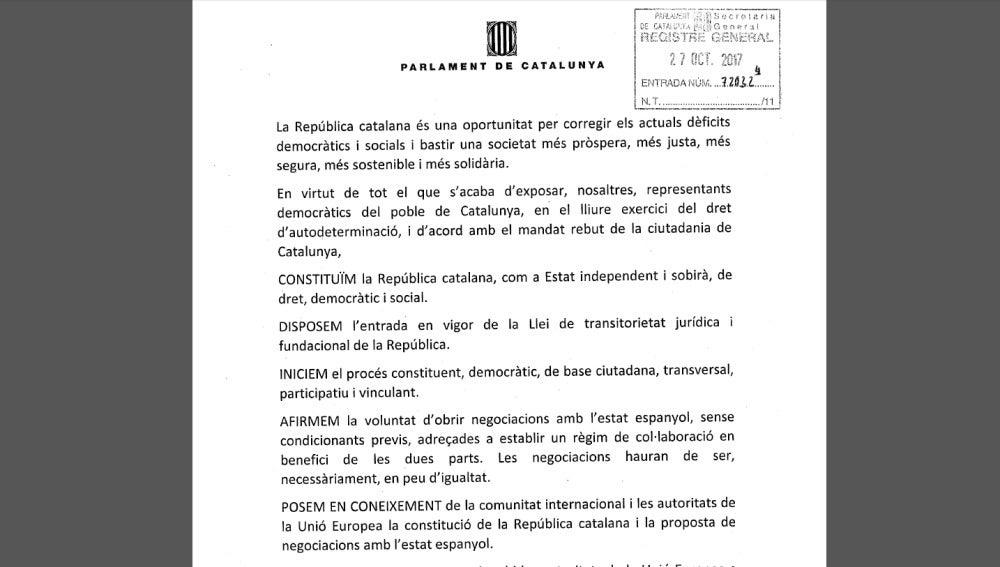 Documento de la propuesta de Junts pel Sí en el Parlament catalán