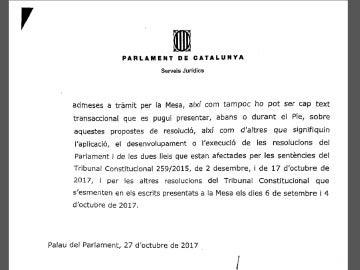 Informe de los letrados del Parlament en respuesta a la propuesta de Junts pel Sí y la CUP