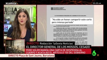 Carta de Pere Soler tras ser cesado como director de los Mossos
