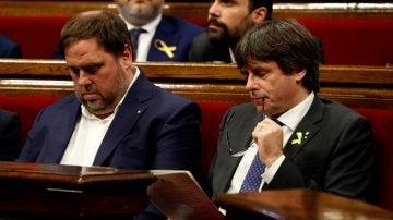Carles Puigdemont y Oriol Junqueras en una imagen de archivo