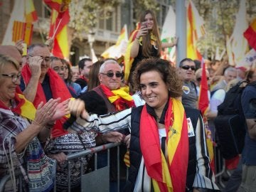 Dolors Montserrat, durante el manifestación en Barcelona