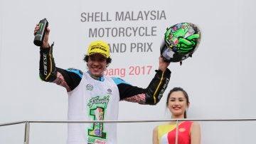 Franco Morbidelli celebra su título en Malasia
