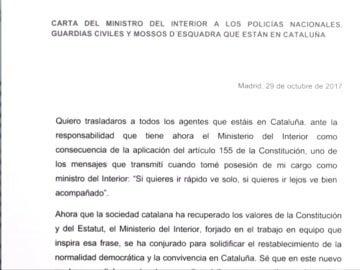 El ministro del Interior envía una carta a las Fuerzas de Seguridad catalanas