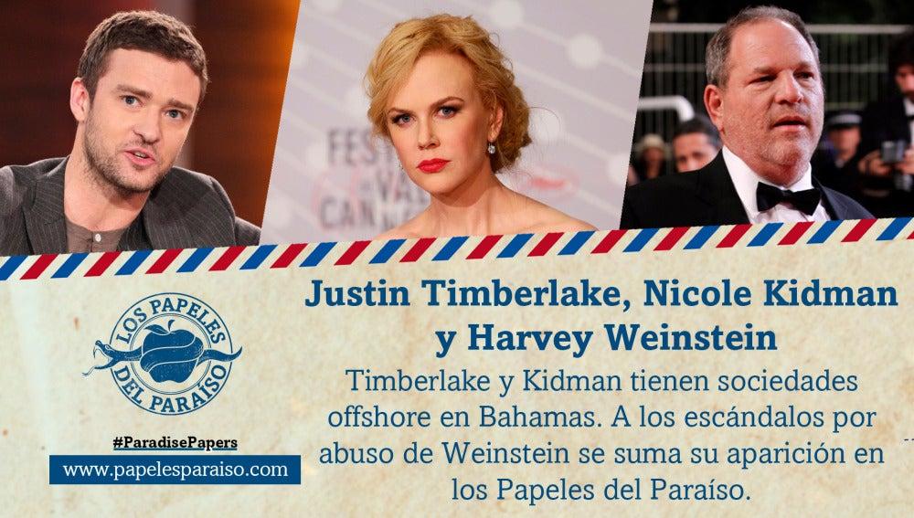 Justin Timberlake, Nicole Kidman y Harvey Weinstein figuran en los Papeles del Paraíso