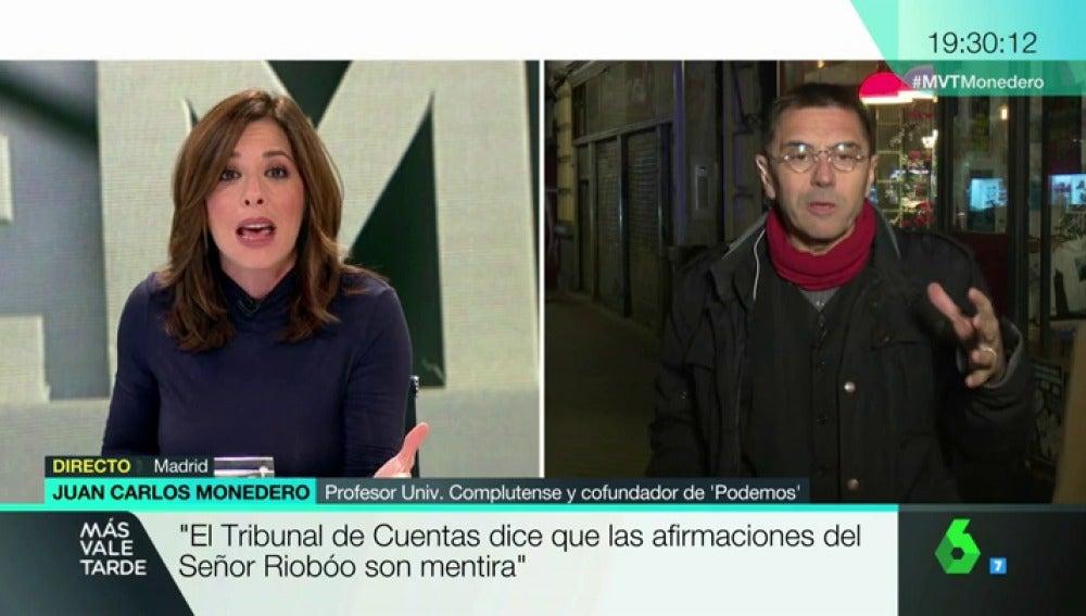 """Tensa entrevista de Mamen Mendizábal a Juan Carlos Monedero: """"Yo no le tengo que defender, se tiene que defender usted"""""""