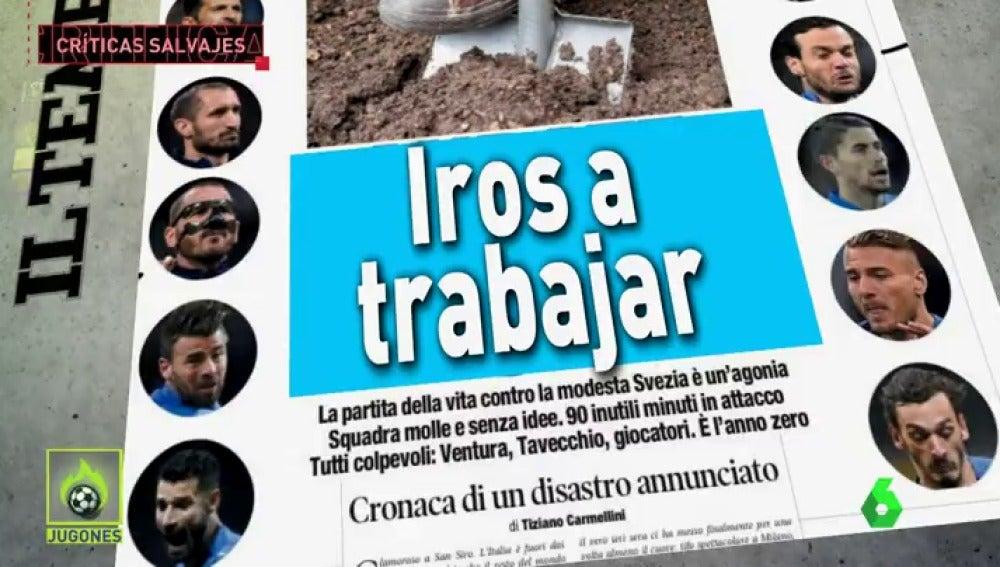 """Apocalipsis azzurra"", ""Todos a casa"", ""Fin"": la prensa italiana carga contra la 'Azzurra'"