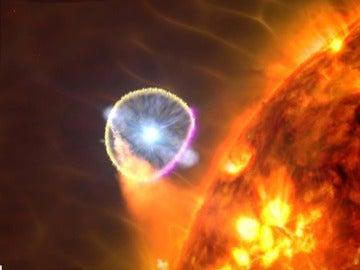 Vista de artista de la explosión de una supernova